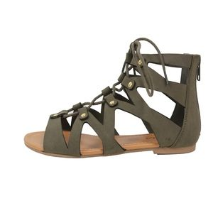 Shoes - Olive Open Toe Lace Up Strappy Ankle Flat Sandals